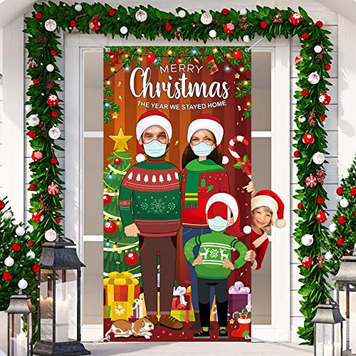 Christmas Quarantine Party Photo Door Banner Photography Backdrop Props, Funny Face in Hole Photo Banner Stand-in Merry Christmas Cutout Banner Background for Christmas Survivor Party Decorations