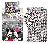 Disney Minnie Roma - Juego de cama de 3 piezas, funda nórdica + funda de...