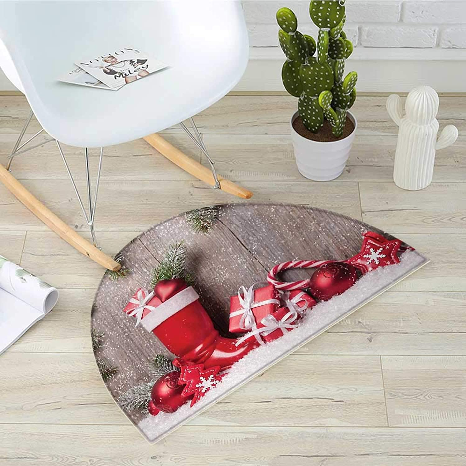 Christmas Semicircular CushionXmas Background with Gift Boxes on Wooden Board Countryside Celebration Image Entry Door Mat H 43.3  xD 64.9  Brown Red