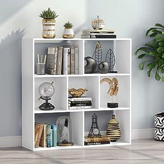 Tribesigns Estantería de madera con cubos abiertos y estantes, estantería de almacenamiento independiente y gabinete de exhibición, para sala de estudio, sala de estar, hogar, oficina