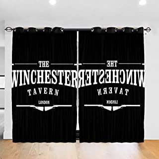 FDASLJ Customized Blackout Window Curtains Shaun of The Dead Winchester Tavern Grommet Thermal Insulated Room Darkening Drape for Bedroom Living Room 52 X 72 Inch, 2 Panels