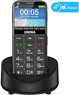 "UNIWA Unlocked Cell Phone 3G Senior Cell Phone WCDMA GSM Cell Phone for Elderly People, 2.31"" Curved Screen Embossed Keyboard Big Button Big Font SOS Emergency Simple Phone with Charging Dock (Black)"