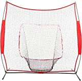 AmazonBasics Baseball Softball Hitting Pitching Batting Practice Net With Stand - 96 x 42 x 86 Inches, Red and Black