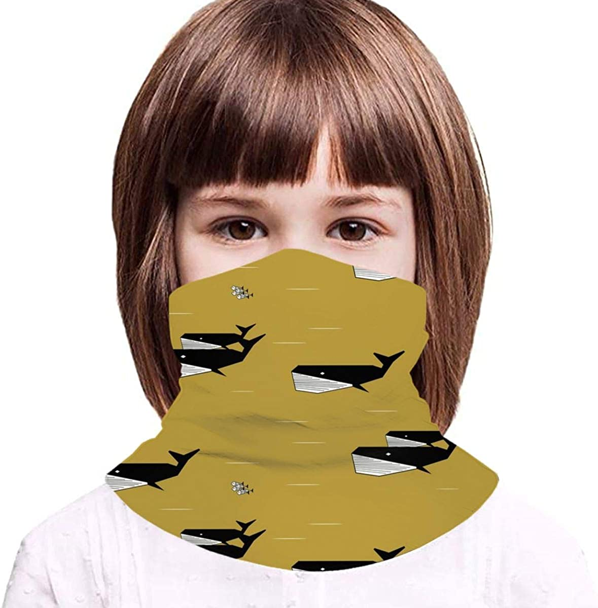 Geometric Whales Black And White On Mustard, Sea Animals Ocean Kids Face Mask Dust Sun UV Protection Neck Gaiter Balaclava Face Cover Scarf Summer Breathable for Cycling Fishing Outdoors