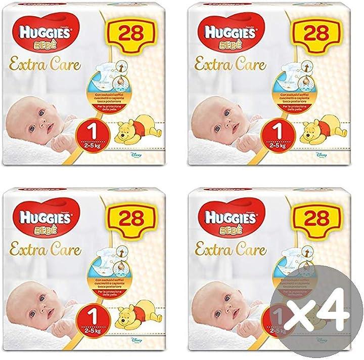 Pannolini, taglia 1 (2-5 kg), 4 x 28 unità  huggies bebè extra care 2591571