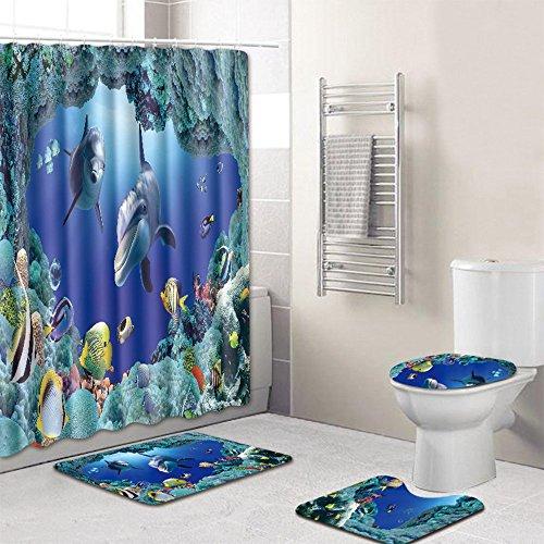 Badzimmer Teppich Set Unterwasserwelt Anti-Rutsch Duschvorhang Toiletten-Abdeckung Fußmatte Badmatte