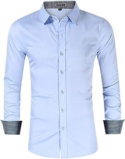 a9b5060baa0 KUULEE Hombre Camisa Manga Larga Slim Fit Camisa Vaquera/Camisa a Cuadros  Rejilla de Diamante