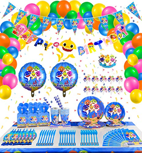 Shark Party Supplies for Baby - 284 Pcs Birthday Decoration with Flatware, Spoon, Plate, Cup, Straw, Table Cover, Napkin, Blowout, Balloon, Candy Box, Cake Topper, Pennant,Banner Favor for Girls Boys