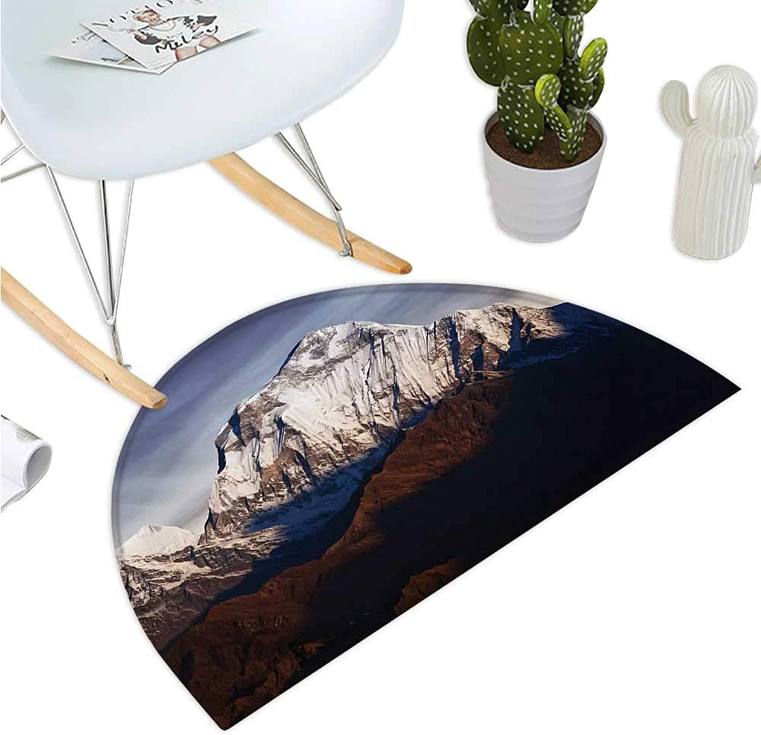 Nepal Half Round Door mats Panoramic Photograph of Mount Dhaulagiri Dramatic Himalayan Nepal Landscape Asia Bathroom Mat H 39.3  xD 59  Multicolor