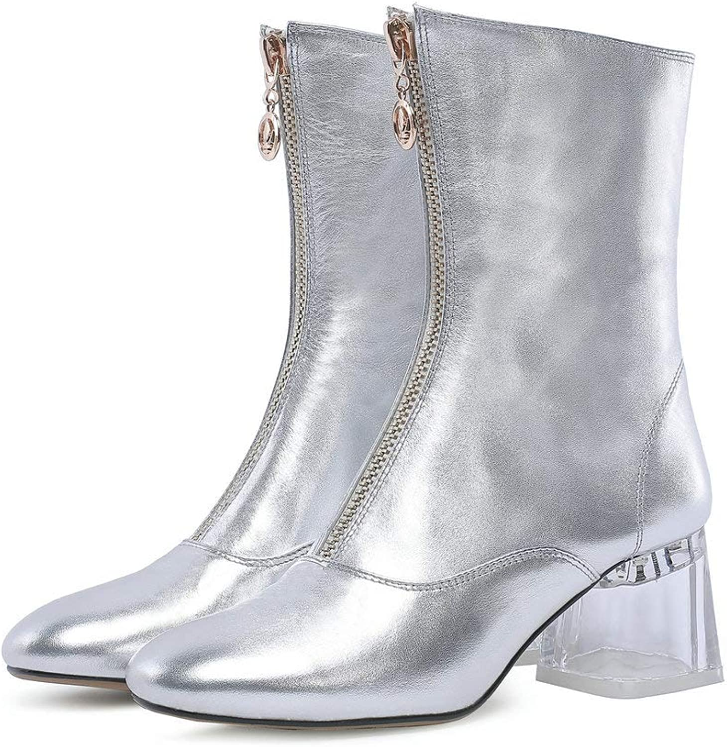 AnMengXinLing Women Ankle Boots Transparent Block Mid Heel Genuine Leather Front Zipper Round Toe Party Mid Calf Booties Silver