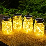 4 Stück Solarlampen fur Garten -30 LED Wetterfest Solar Einmachglas Aussen Lampions, Lichterkette im Glas,Gartendeko Solarleuchten für Weihnachten,Außen Laterne,Hochzeit, Party,Wand, Tisch, Baum.