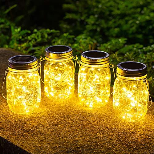 4 Stück Solarlampen fur Garten -30 LED Wetterfest Solar Einmachglas Aussen Lampions, Lichterkette im Glas,Gartendeko Solarleuchten für...