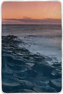 Heated Suitable for All Seasons Plush Sea Coast Water Ocean Sky Woolen Blanket 60x90 Inch Throw Blanket Large Wrinkle Resistant