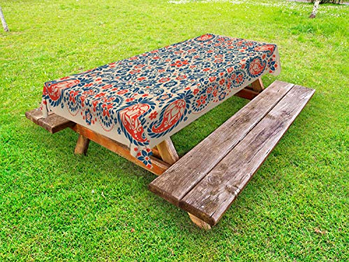 ABAKUHAUS Paisley Outdoor-Tischdecke, Kultur Folk Persisch, dekorative waschbare Picknick-Tischdecke, 145 x 210 cm, Orange Night Blue Tan