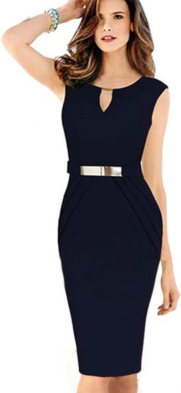 Unomatch Women's Slim Bodycon Small Vneck Sleeveless Dark Navy Dress