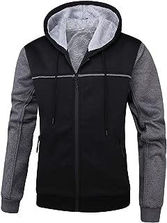 Men's Full Zip Fleece Jacket Winter Warm Hooded Workout Pullover Thick Thermal Coat