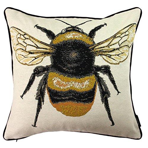 McAlister Textiles Bugs Life | Sofakissen mit Füllung mit gesticktem Bienenkönigin-Motiv | 40 x 40cm | gewebtes Tiermotiv | gefülltes Deko Kissen für Zierkissen, Sofa, Bett, Couch Motivkissen