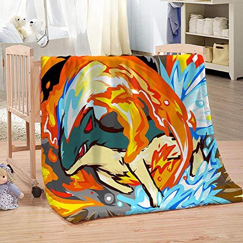 JFAFJ Flannel Fleece Throw Blanket Anime Pokémon Lightweight Cozy Plush Microfiber Bedspreads for Adults 70.8x78.7 inch