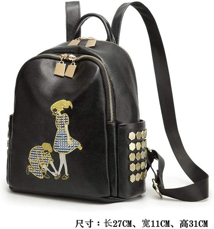 DYR Backpack leatherdies Backpack Large pacity Outdoor Travel Bag Casual Student Bag, Black