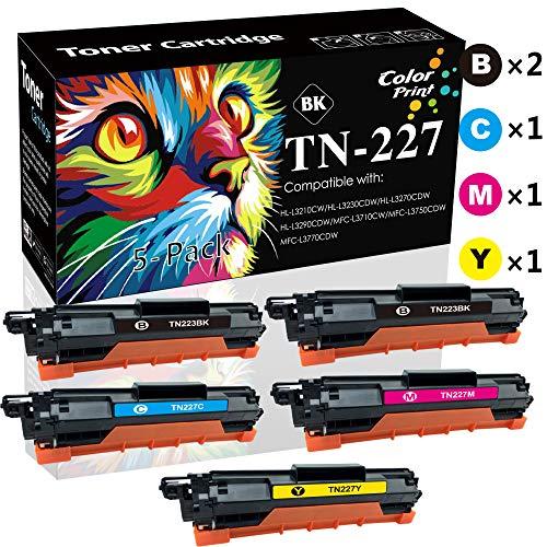 (5-Pack, 2BK/C/M/Y, High Yield) Compatible TN227 TN-227 Toner Cartridge TN-223 Used for Brother HL-L3210CW L3230CDW L3710CDW L3270CDW MFC-L3710CW L3750CDW L3770CDW Printer, Sold by ColorPrint -  CP-BR-TN223-227-LINE-2-1, CPBR-TN223-227-5P