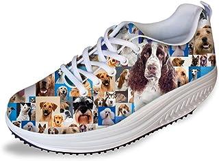 FOR U DESIGNS Women's Cute Dog Print Comfortable Swing Fitness Walking Shoes Tennis Sneaker Wedges
