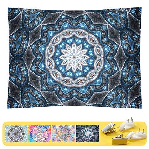 FHSQX Wandteppich, Hippie-Mandala, Wandteppich, zum Aufhängen, für Schlafzimmer, Schlafsaal, Tagesdecke, Picknickdecke, passend 3 Größen M:W 59.1'×H 51.2' blau