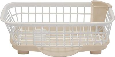 Klaxon Plastic Dish Drainer - Brown & White
