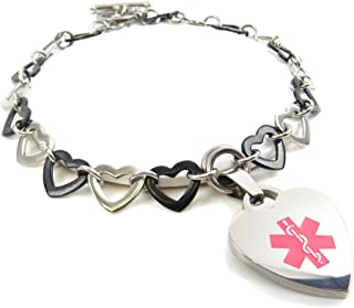 Pre-Engraved & Customized Women's Blood Type O Toggle Medical Charm Bracelet, Black Steel Hearts