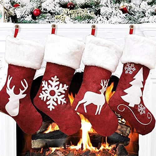 MAGICVOGEL 4er Set Rot Weihnachtsstrümpfe Kamin hängend Weihnachtsstrumpf zum befüllen Plüsch Weihnachtssocken zum aufhänger Nikolausstrumpf 46x27cm