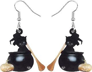 NEWEI Acrylic Halloween Cute Black Cat Kitty Earrings Drop Dangle Gifts Jewelry For Women Girls Teens Kids Charm