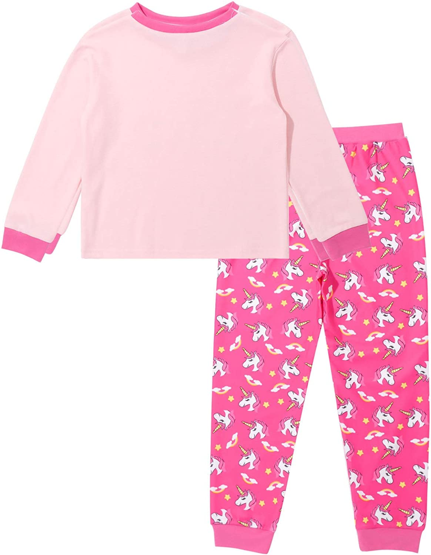 Freebily Ni/ña Pijamas de Manga Larga de 2 Piezas Conjuntos de Pijamas de Unicornio Ropa de Dormir de Algod/ón Invierno