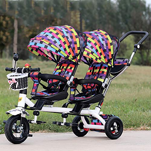 Great Features Of Baby Stroller YXGH@ Children's Tricycle Double Twin Trolley Titanium Empty Wheel B...