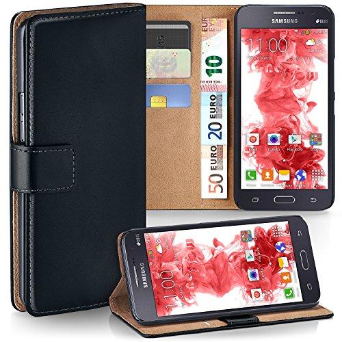 MoEx® Booklet mit Flip Funktion [360 Grad Voll-Schutz] für Samsung Galaxy Grand Prime | Geldfach und Kartenfach + Stand-Funktion und Magnet-Verschluss, Schwarz