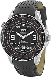 Flight Series Watch for Men – Aviators Pilot Writswatch for Mens – Leather Strap Stainless Steel QuartzTimepiece – Waterproof Black Dial Watch – Sport and Casual Comfortable Wrist Watch