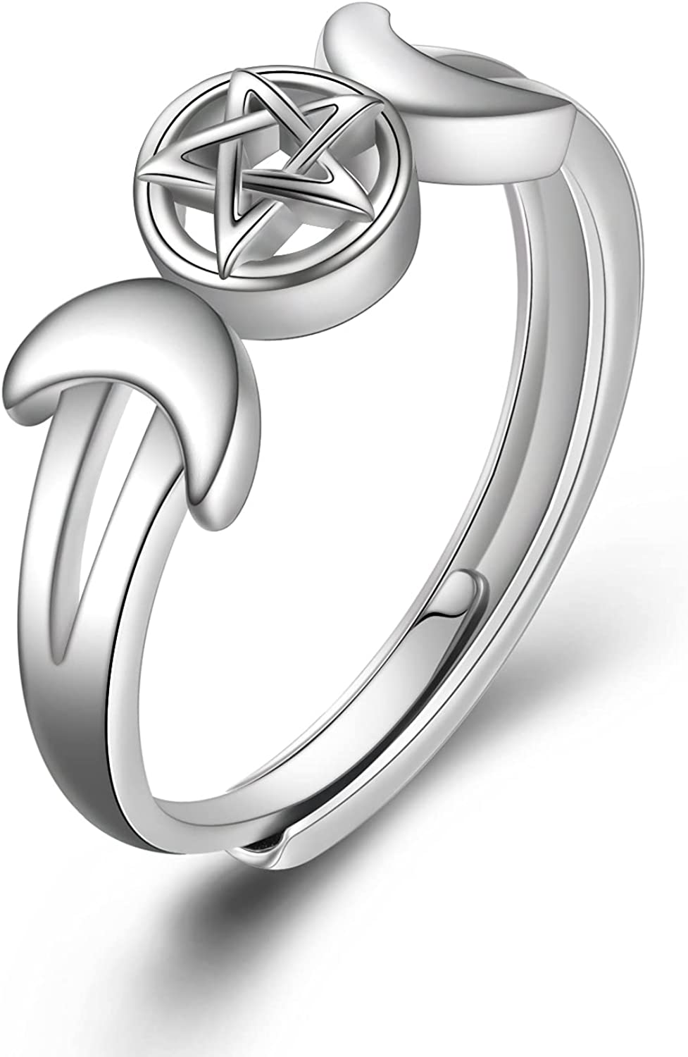 POPLYKE Wicca High material Pentagram Ring for 925 Pagan Silver Sterling Women In stock