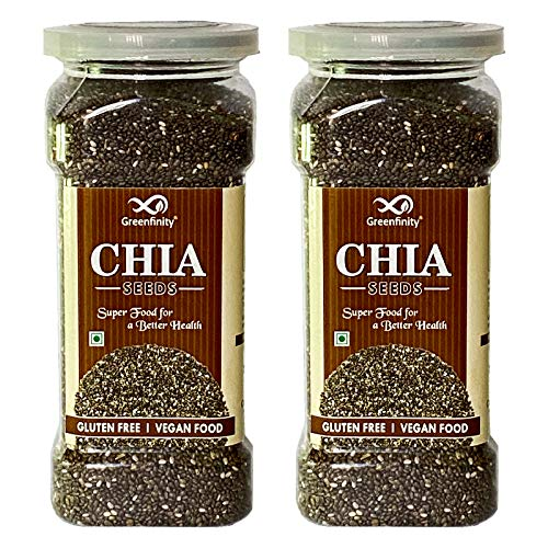 GreenFinity Gluten Free Raw Chia Seeds Calcium and Protein Rich Superfood (Pack of 2- 350gm)