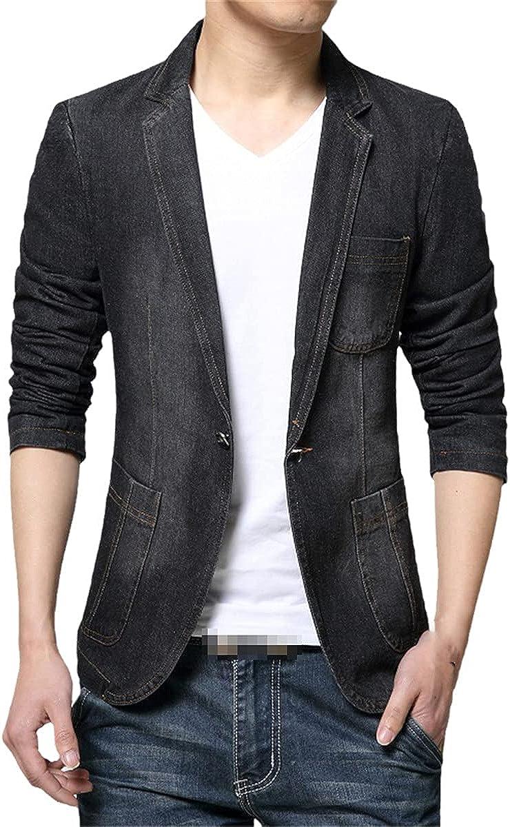 DFLYHLH Spring and Autumn Fashion blazera Blue Casual Denim Suit Jacket/Men's Denim Suit Jacket
