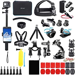 Artman Action Camera Accessories Kit 58-in-1 for GoPro Hero 9 8 Gopro MAX Gopro 7 6 5 Session 4 3+ 3 2 1 Black Silver SJ40...
