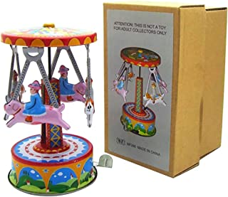 Toysgift Classic Retro Vintage Merry-Go-Round Horse Wind Up Rotating Airplane Carousel Metal Toy Collectors Item for Kids and Adults Carousel Decoration Valentine's Day