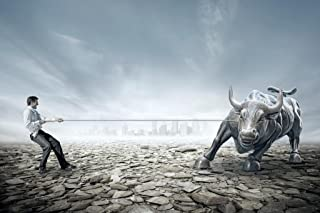 Businessman Tug of War with Bull Stock Market Photo Art Print Laminated Dry Erase Sign Poster 18x12