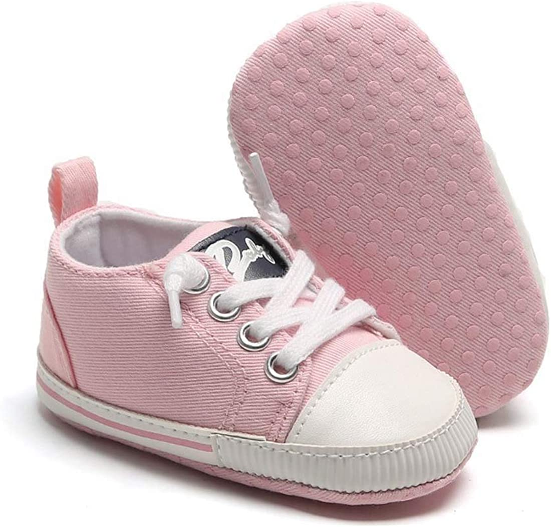 Casazoe Infant Baby Boys Girls Canvas Sneakers Lace Up Soft Anti-Slip Sole Casual Shoes Newborn Toddler 0-18 Months First Walking Shoes Crib Shoes