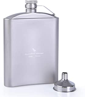 Boundless Voyage Portable Titanium Hip Flask Sake Cup Pocket Flagon with Funnel Drink Bottle Set Ultralight Wearproof Outd...