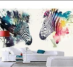 ورق حائط ثلاثي الأبعاد لغرفة المعيشة تلفزيون خلفية شمال مرسومة باليد بألوان مائية حمار وحشي ورق حائط للقهوة للجدران 3D MRQ...