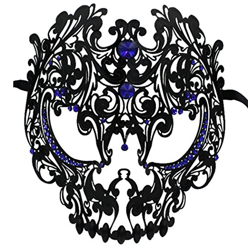 Skull Face Masquerade Masks Mardi Gras Party Mask with Rhinestones (Black-Blue)