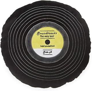 Balvi Cojín Soundtracks Color Negro En Forma de Disco de Vinilo con Detalles Bordados Poliéster 37 cm