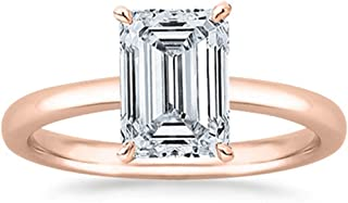 1.7 Ct GIA Certified Emerald Cut Solitaire Diamond Engagement Ring 14K White Gold (H Color VS1 Clarity)