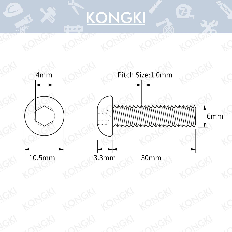Machine Thread 10.9 Grade Alloy Steel 50 PCS M6-1.0 x 16mm Button Head Socket Cap Screws Black Oxide Finish Allen Socket Drive