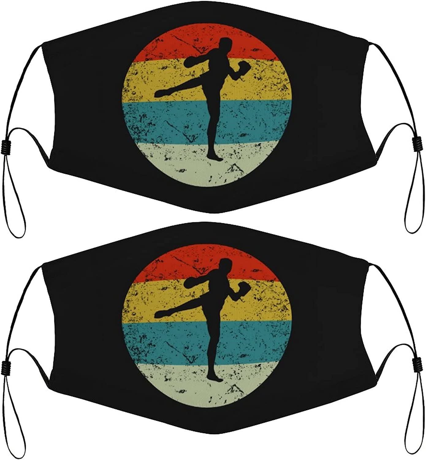 Kickboxing Retro Kids Face Masks Set of 2 with 4 Filters Washable Reusable Breathable Black Cloth Bandanas Scarf for Unisex Boys Girls