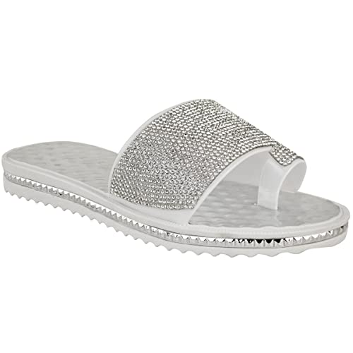 b4a4e0737 Fashion Thirsty Womens Ladies Flat Diamante Beach Holiday Casual Sandals  Summer Low Heels Size