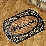 Felpudo para la entrada de casa, 70 x 40 cm, alfombra para entrada de casa con frases simpáticas, de fibra de coco gruesa de alta calidad, 1,5 cm y base antideslizante de PVC (motivo H)